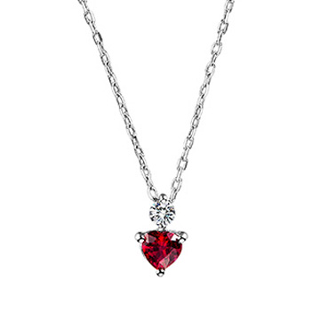 Circle-白金心形红宝石项链