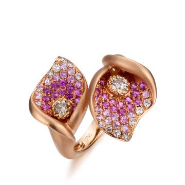 Circle-红宝石并蒂莲指环