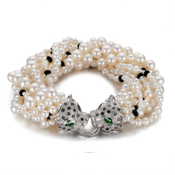 Circle-白金獵豹珍珠手鏈