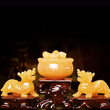 念菩堂-黄玉聚宝盆貔貅摆件