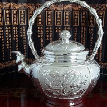 蜀都银楼-时龙凤竹节银壶