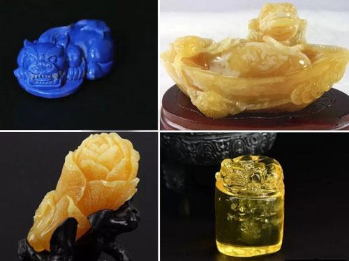 缅甸琥珀貔貅雕刻件荧光效果;蜜蜡金蟾摆件;蜜蜡白菜摆件;收藏级金珀