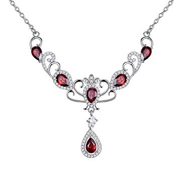 宇彩珠宝S925银饰红宝石项链