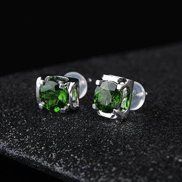 宇彩珠宝S925银饰绿宝石耳钉