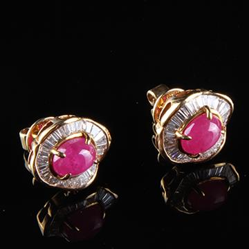我爱珠宝城红宝石18K金耳插