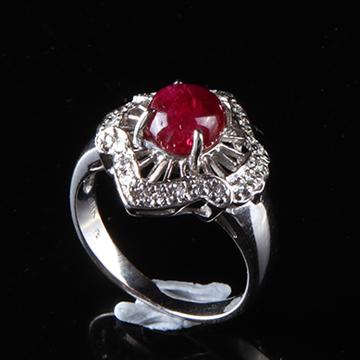 我爱珠宝城红宝石18K金镶嵌戒指