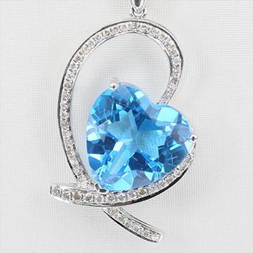 我爱珠宝城托帕石镶钻吊坠
