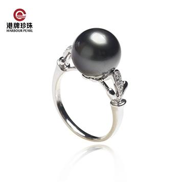 港牌珍珠-大溪地天然黑珍珠戒指