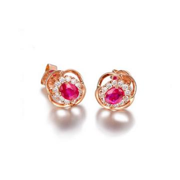 和叶珠宝天然红宝石耳钉
