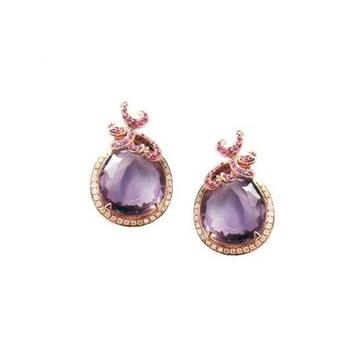 和叶珠宝天然紫宝石耳钉