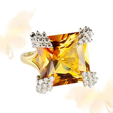 富沃斯珠宝黄晶金戒指