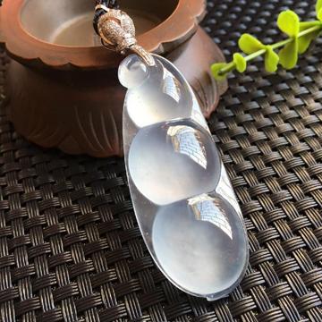 觅一翡翠玻璃种荧光福豆挂件