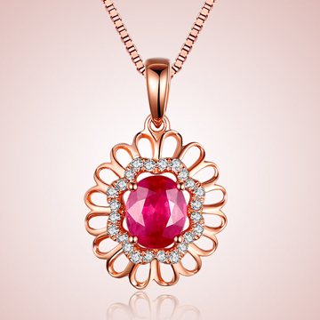 芭萝莉珠宝18K玫瑰金红宝石项链
