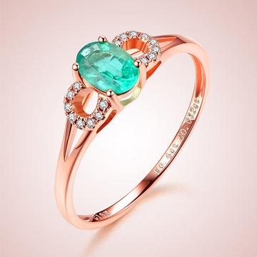 芭萝莉珠宝18K玫瑰金祖母绿戒指