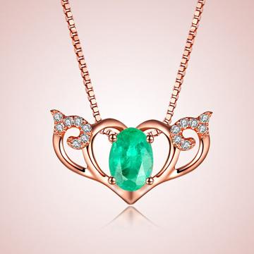 芭萝莉珠宝18K玫瑰金祖母绿项链