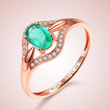 芭萝莉珠宝18K玫瑰时尚金祖母绿戒