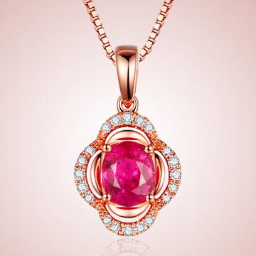 芭萝莉珠宝精美18K玫瑰金红宝石项