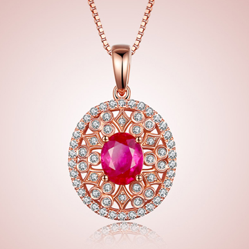 芭萝莉珠宝时尚18K玫瑰金红宝石项
