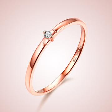 芭萝莉珠宝18K玫瑰金简约精美钻石