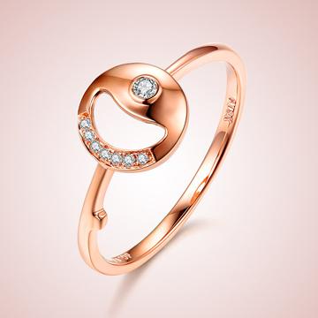 芭萝莉珠宝18K玫瑰金简约时尚钻石