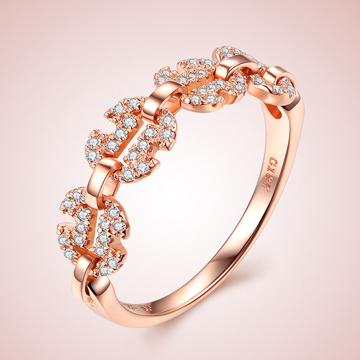 芭萝莉珠宝18K玫瑰金精美钻石戒指