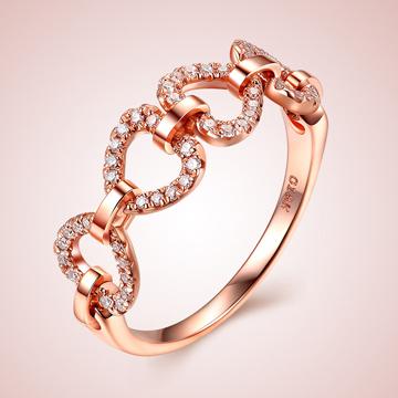 芭萝莉珠宝18K玫瑰金时尚钻石戒指