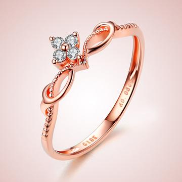 芭萝莉珠宝18K玫瑰金钻石戒指