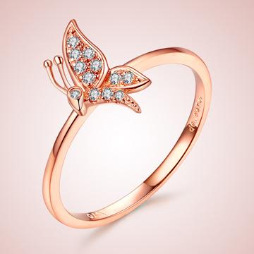芭萝莉珠宝蝴蝶18K玫瑰金钻石戒指