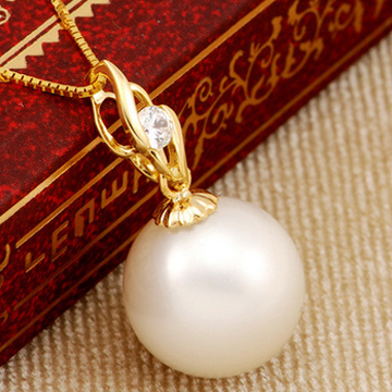 恒兴珠宝18K黄金珍珠吊坠托配件-项
