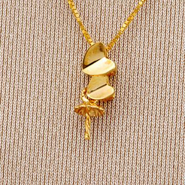 恒兴珠宝18K黄金珍珠心相印吊坠托