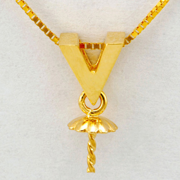 恒兴珠宝18K黄金几何V型-精致-珍珠
