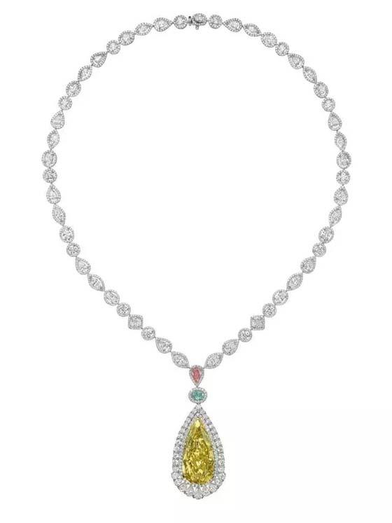 梨形黄钻项链