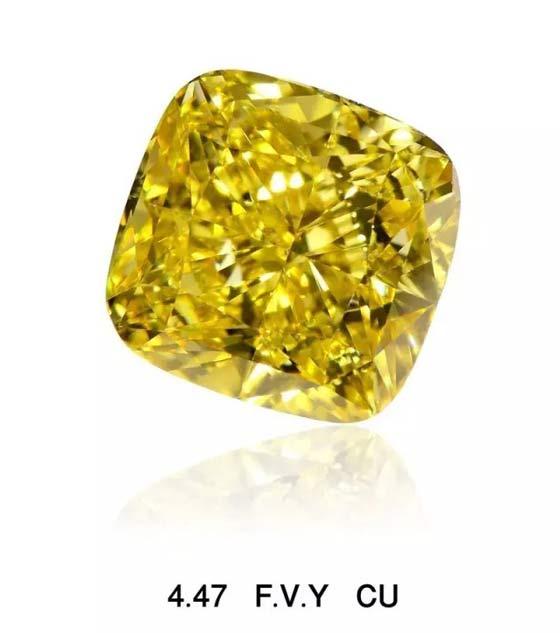 天然无瑕浓彩黄钻