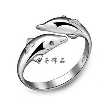 金奇饰品纯银幸福双海豚恋爱开口女