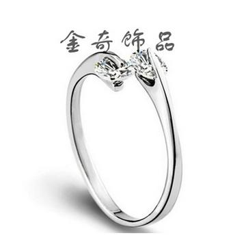金奇饰品韩版纯银双钻女士戒指