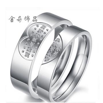 金奇饰品韩版个性水钻爱心情侣戒指