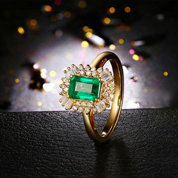 彩贸珠宝1.02克拉祖母绿戒指