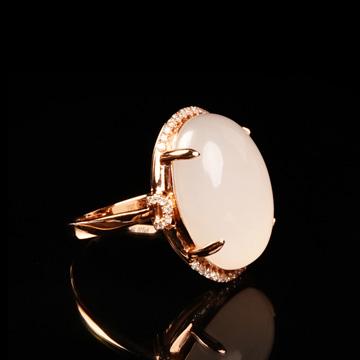西周珠宝和田白玉戒指