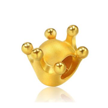 大熊珠宝3D硬足金皇冠吊坠