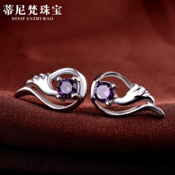 蒂尼梵珠宝S925银耳钉