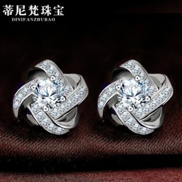 蒂尼梵珠宝高档精致锆石耳环