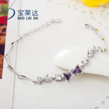 宝莱达纯银蝴蝶结手链