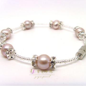 紫月珍珠便捷磁鐵扣手鏈