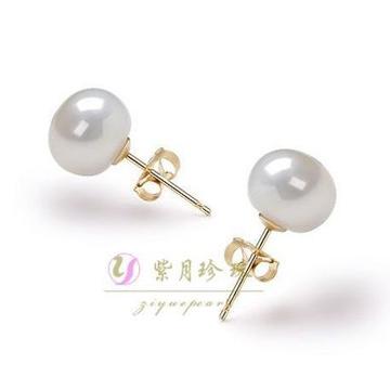 紫月珍珠天然珍珠耳钉