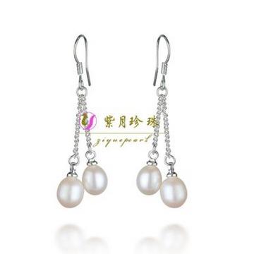 紫月珍珠天然珍珠耳环时尚珍珠耳坠