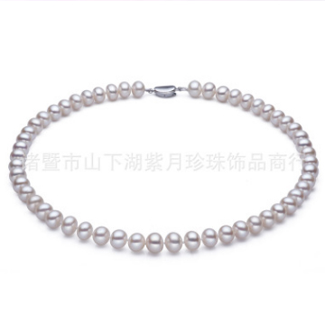 紫月珍珠无暇强光天然淡水珍珠项链