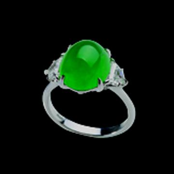 密玉珠宝-时尚白金镶嵌翡翠戒指