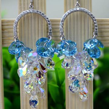 银酷尔-天然葡萄水晶耳环