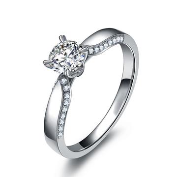 兰柏珠宝1克拉钻石女戒