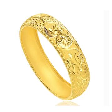 冠亚鳯祥-雕刻黄金手镯
